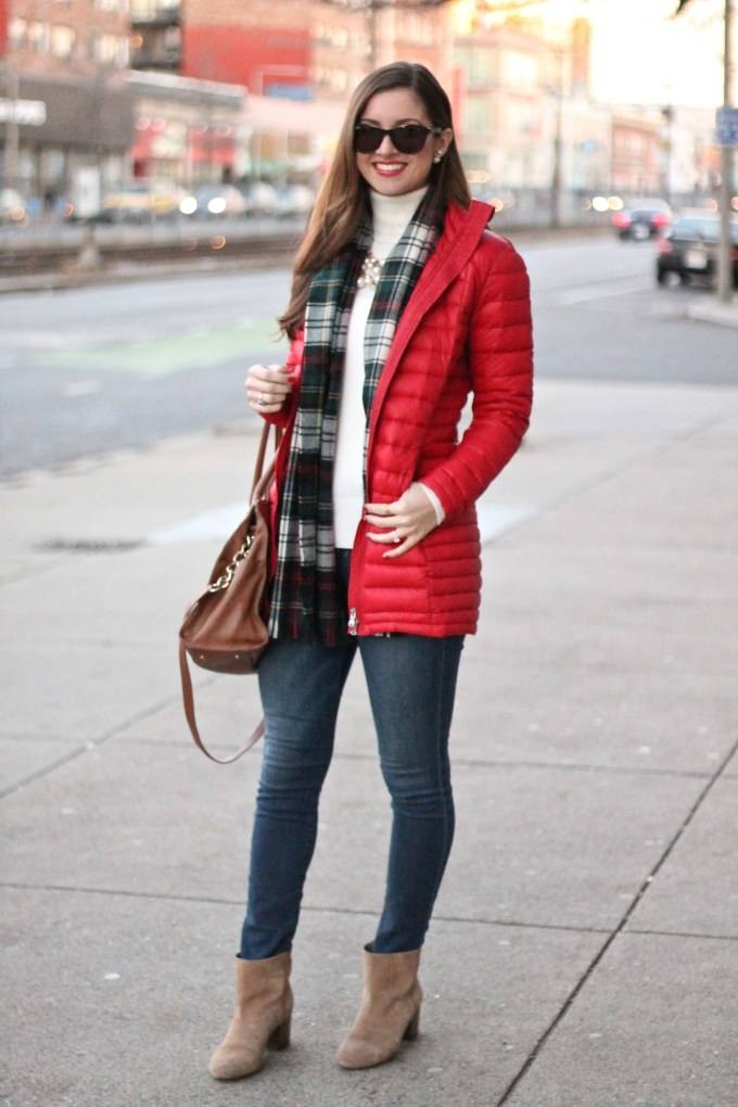 Winter Style: Red Puffer Coat with Plaid