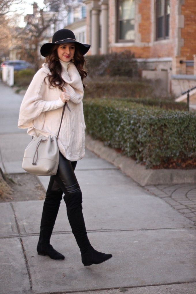 Cream Poncho with Suede & Leather Details and a felt floppy hat