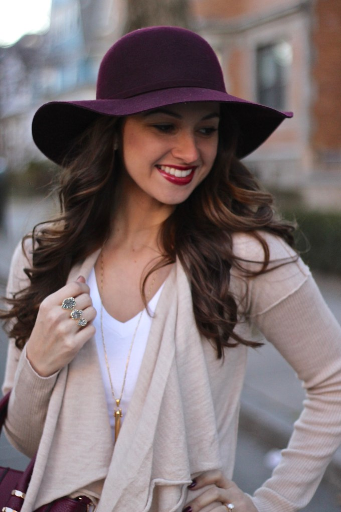Oatmeal COlored Open Waterfall Cardigan with Bordeaux Floppy Hat and Bag