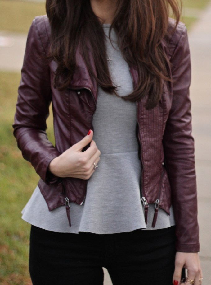 Burgundy and Grey Look
