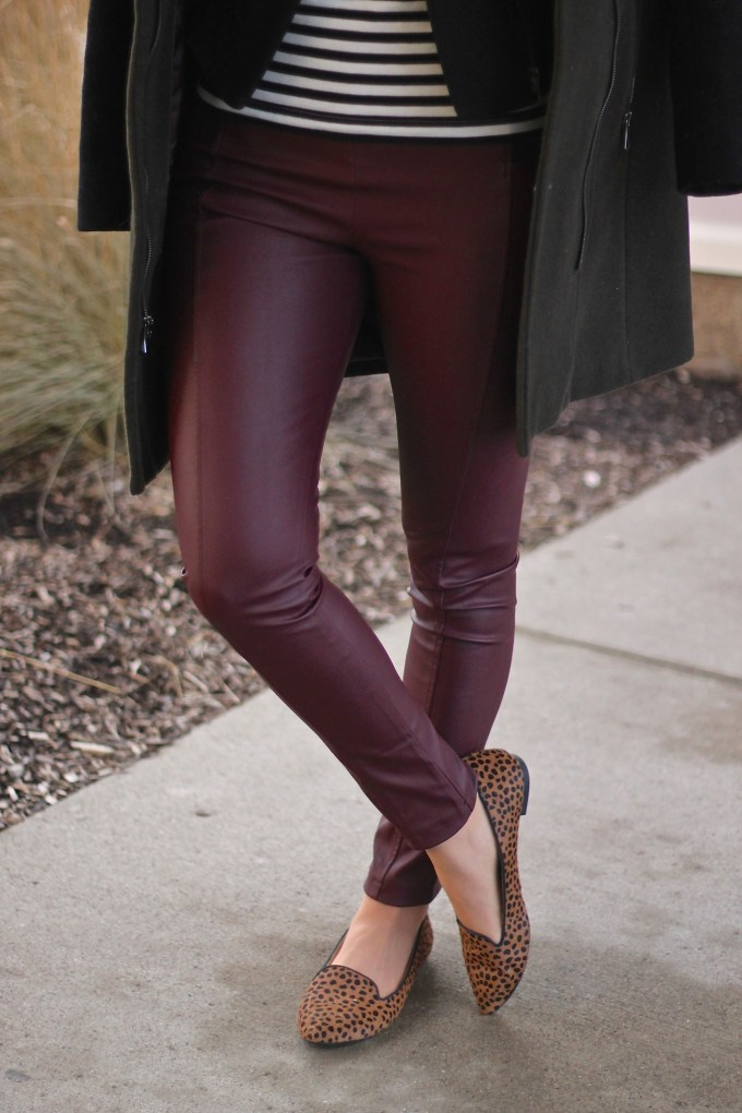 Marsala Leather Pants with Stripes & Animal Prints