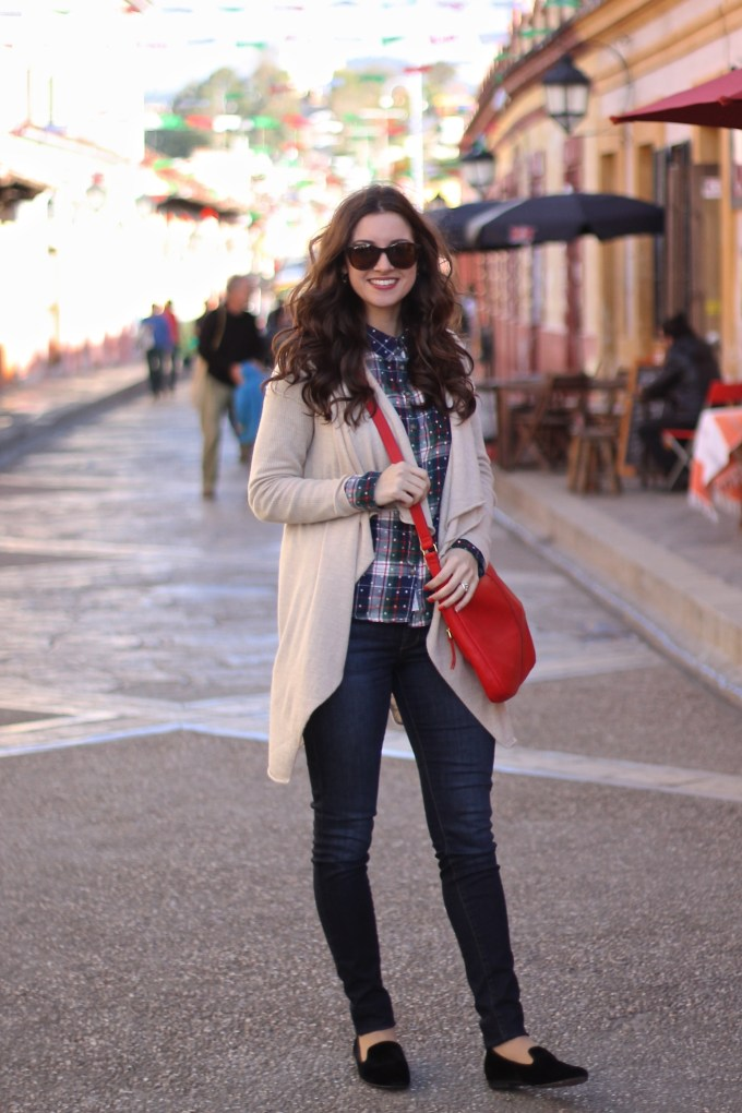 Plaid Button Down with Khaki Cardigan- Winter Travels in Chiapas, Mexico