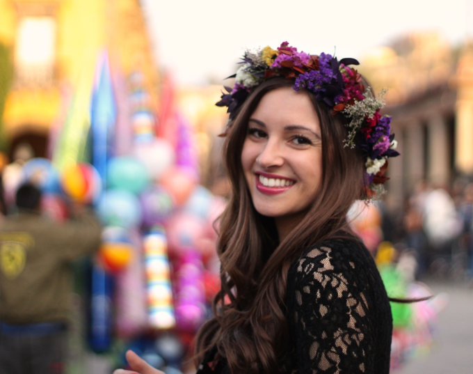 Lace Peplum Top and Flower Crown in San Miguel de Allende