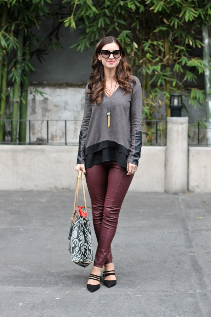 Marsala Leather Pants, Oversized Charcoal and Black Top