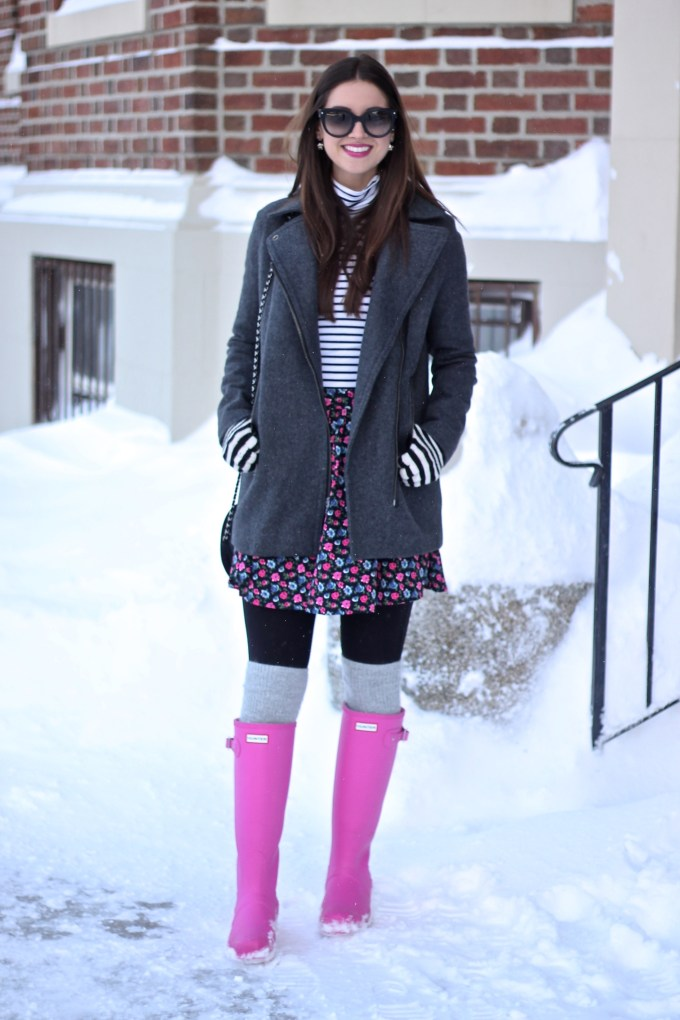 Grey COat, Stripes, FLorals and Lipstick Pink Hunter Boots