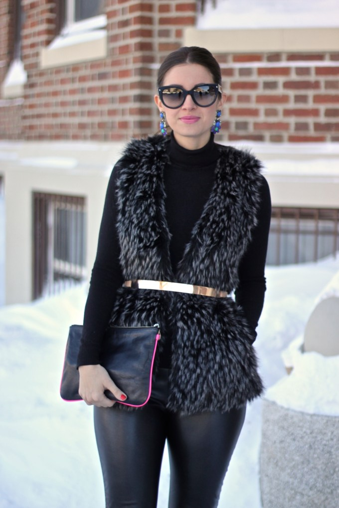All Black Faux Fur with Metal Belt
