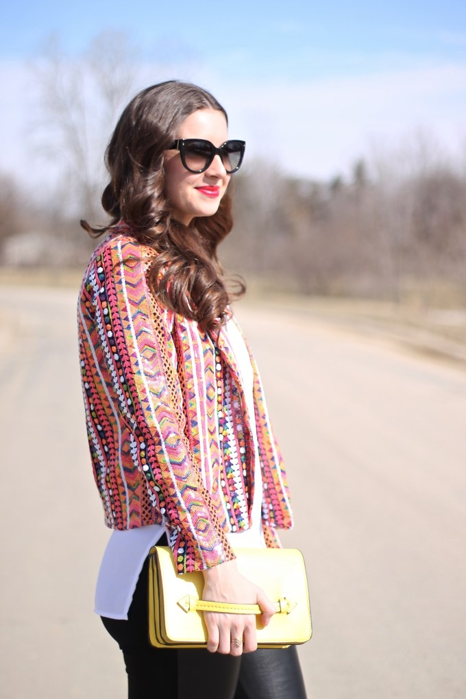 Asos Multicolored Sequin Blazer with Leather Pants and Yellow Clutch