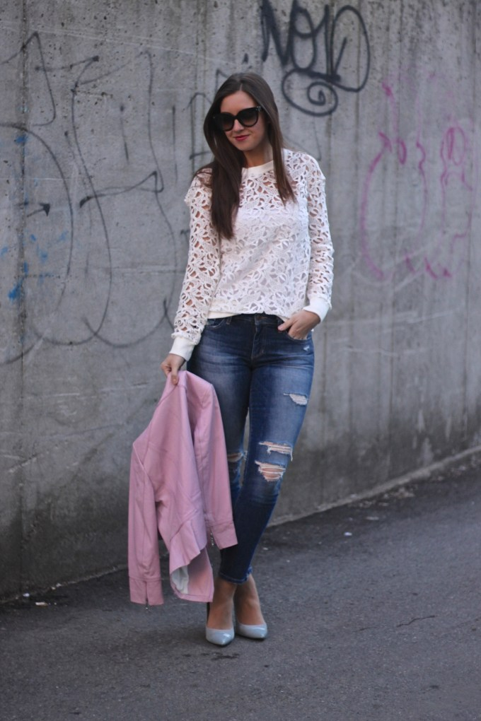 Lace Cutout Sweatshirt, Ripped Jeans and Blush Leather WHBM Jacket