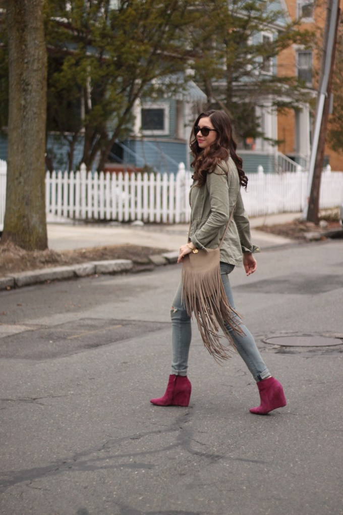 Fringe Bag, Magenta Booties & Floral Blouse