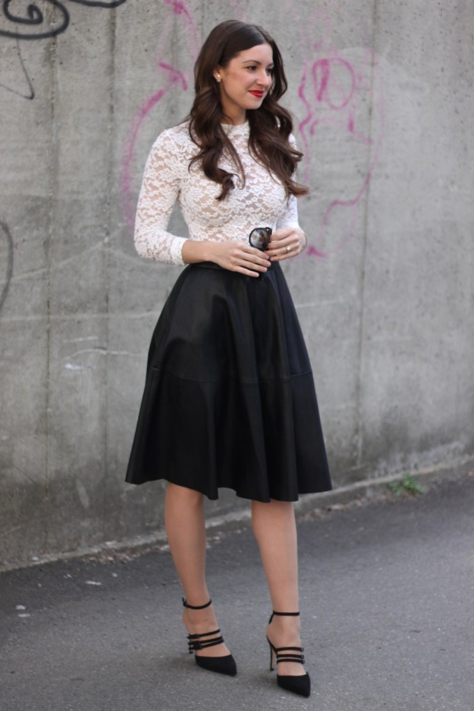 La Mariposa: H&M Lace Crop Top and Zara Leather A-line Skirt