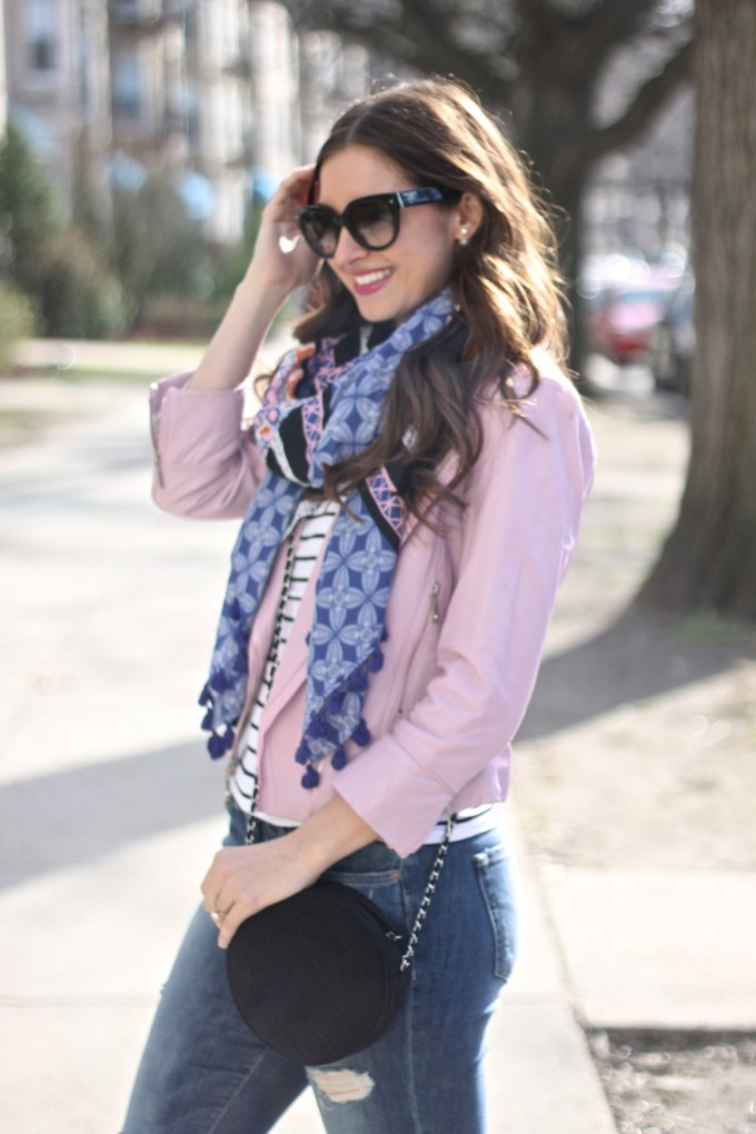 Baby Pink Leather Cropped Jacket, Stella & Dot Blue/Black/Pink Scarf, Ripped Jeans, Silver Pointy Flats