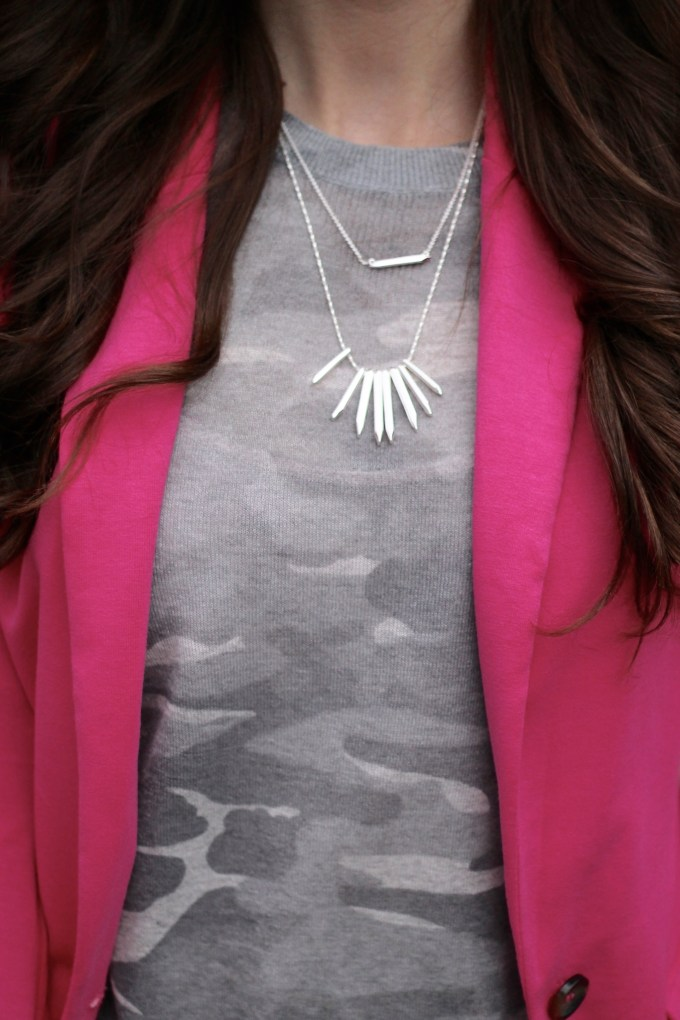Camo Top and Stella & Dot Necklace