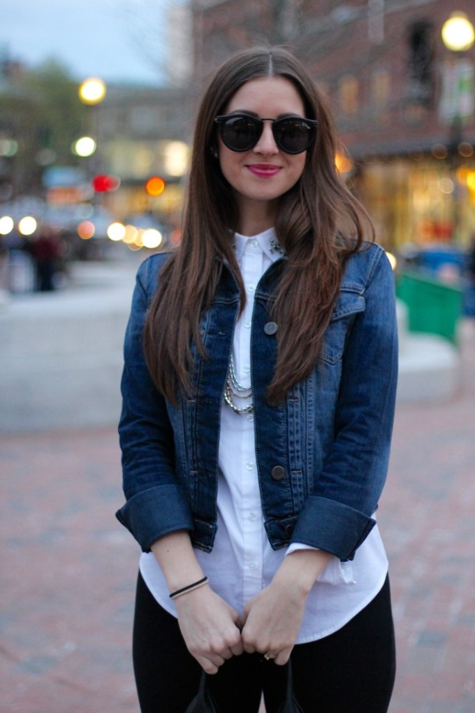 Aero Denim Jacket with Ann Taylor White Blouse with Embellished Collar