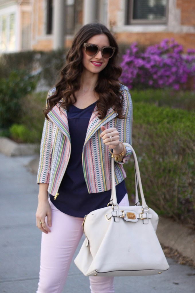 Baby Pink Jeans, Pastel Striped Blazer and Cap-toe SHoes