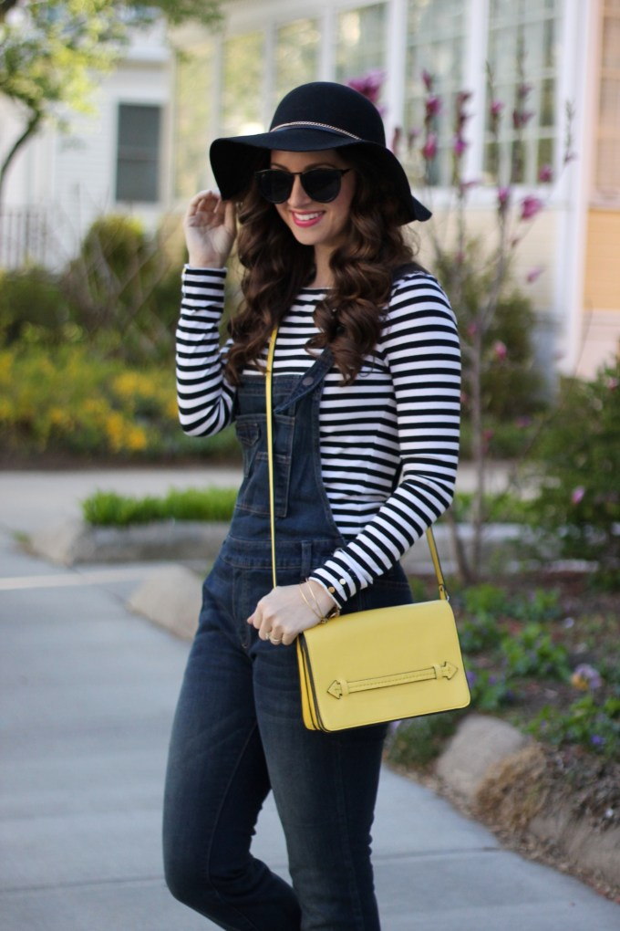 Free People Dark Wash Overalls, Floppy Hat, Stripes and Yellow Bag