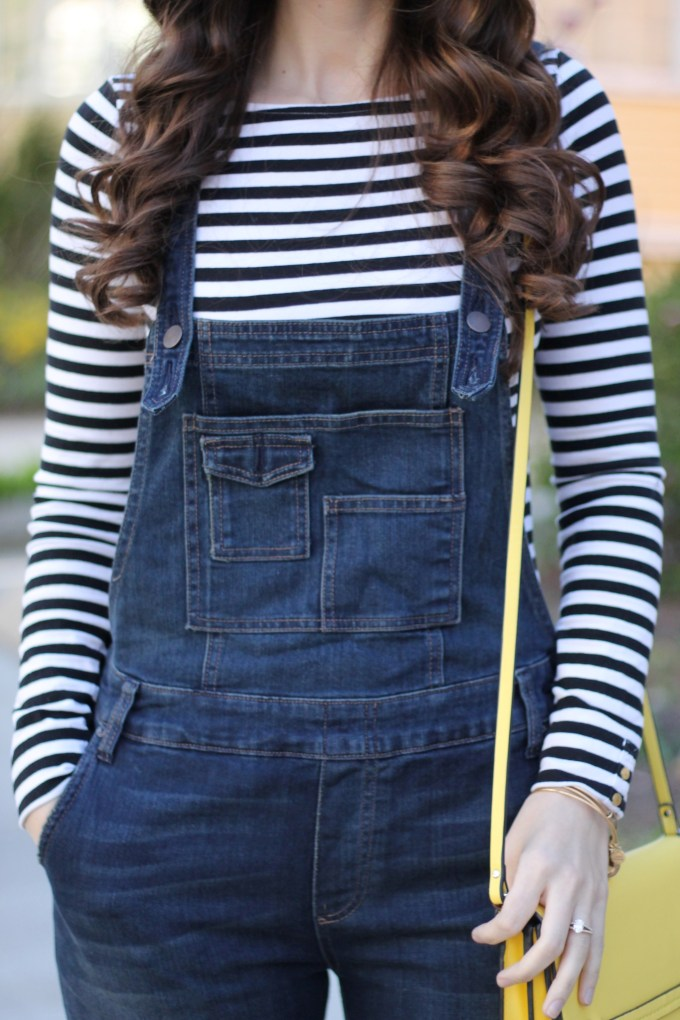 Stripeed Tee and Brady Wash Free People Overalls