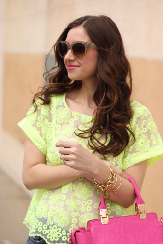 Anthropologie Lime Organza Lace top