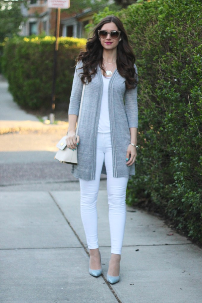 Long Grey Duster Sweater with All White
