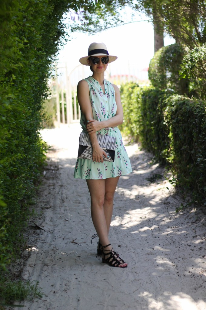 Juicy Couture Aqua Floral Summer Beach Dress and H&M Panama Hat