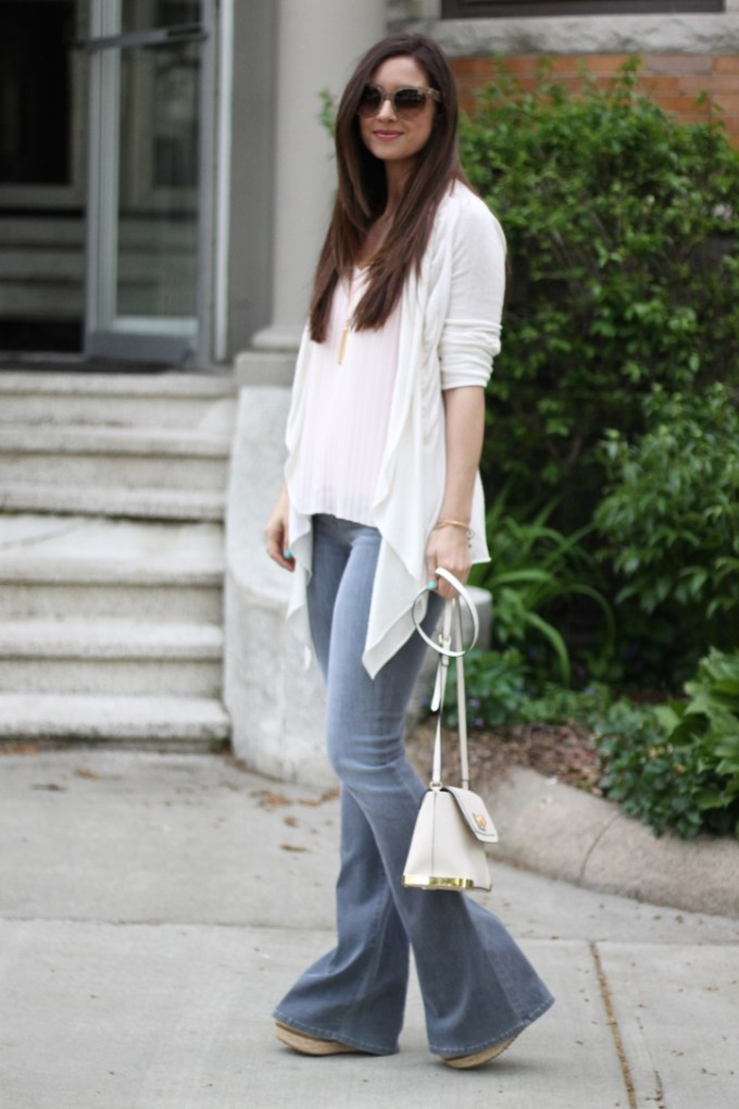 Baby Pink Accordion Blouse, Cream Sweater and Grey Flared Jeans