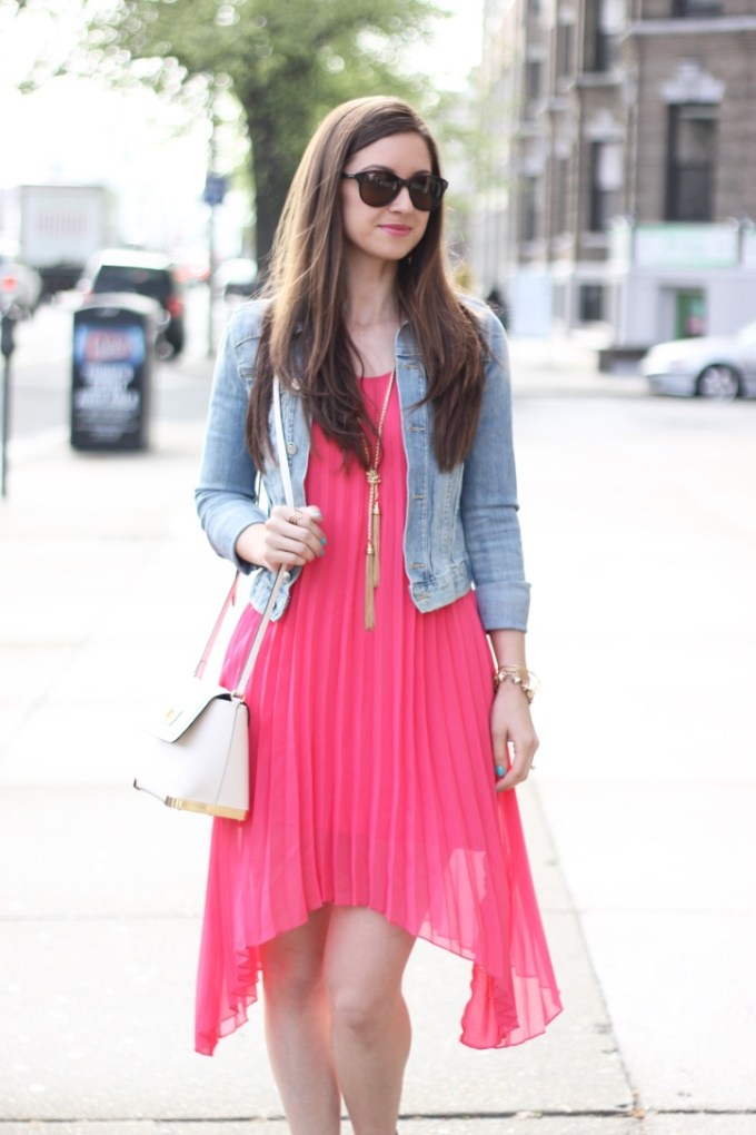 Glam Girl Coral Pink High-Low Pleated Chiffon Dress