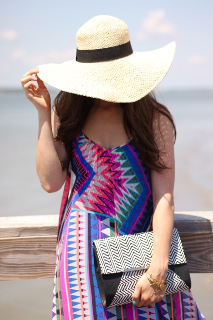 Floppy hat and pink/blue dress