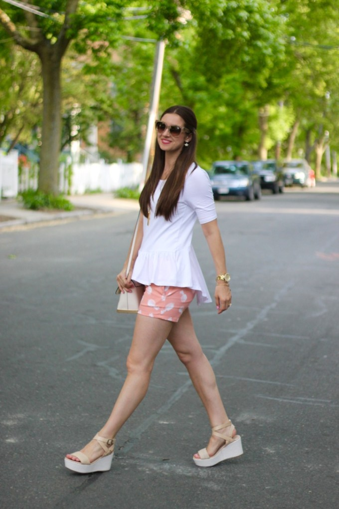 White Ruffle Tee and Peach Pineapple Shorts with Platform Sandals