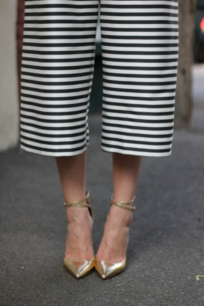 Gold MEtallic Mirrored Heels and Striped Midi Jumpsuit