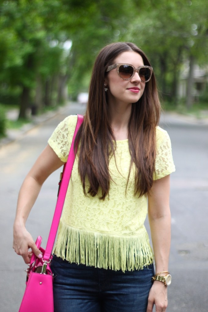 H&M Yellow Lace top with Fringe