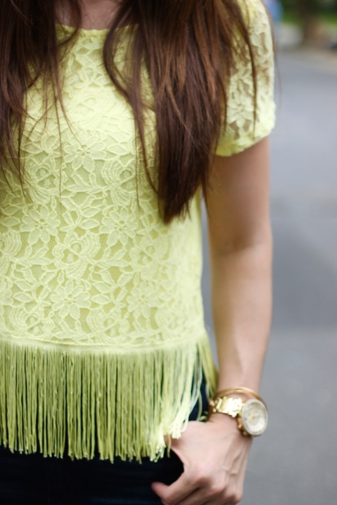 H&M Divided Yellow Fringe and Lace Top