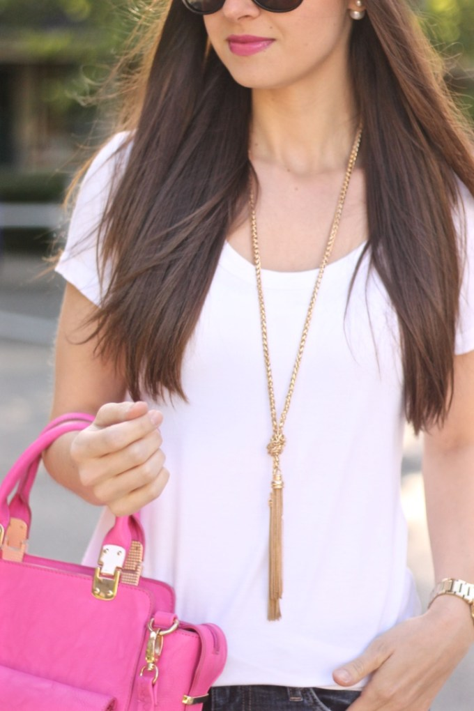 Tassel Necklace and Pink Crossbody Bag