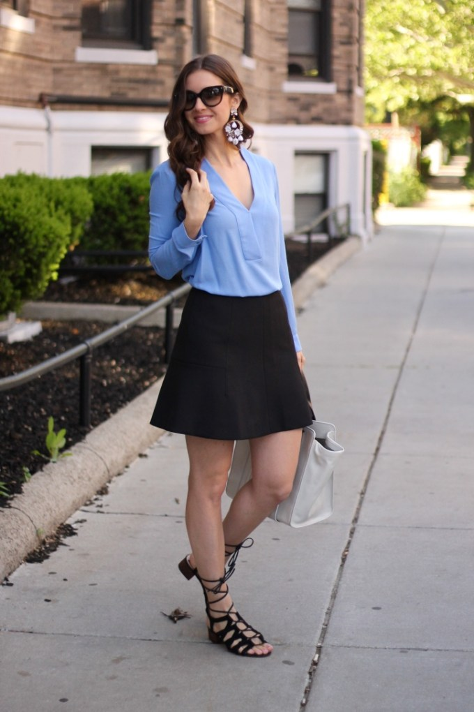 Baby Blue and Black, Strappy SAndals and Statement Floral Earrings