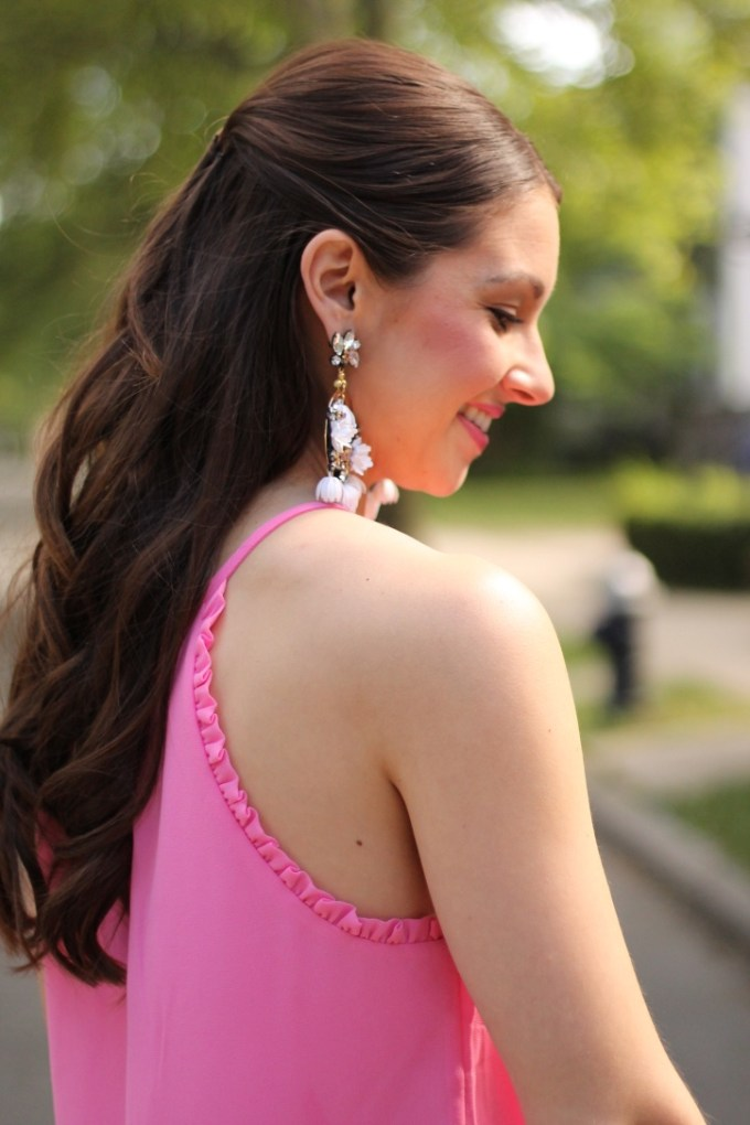 Pink Halter Tank Top with Ruffles