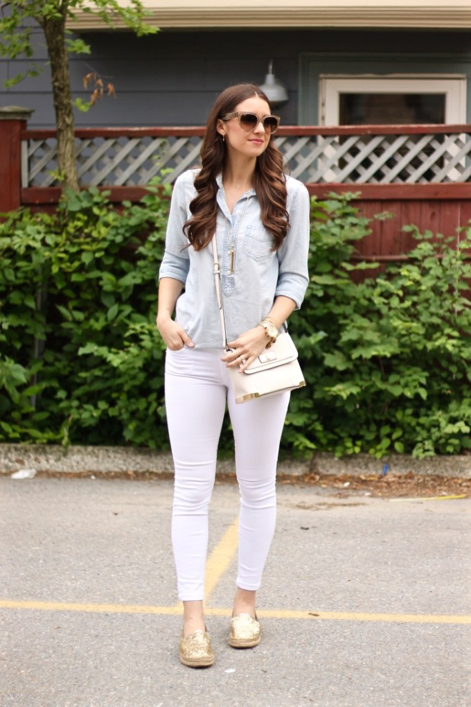 Chambray, White Skinny Jeans and Gold Glitter Platform Espadrilles