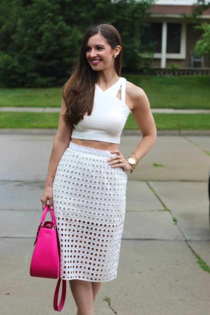 Modern Bridal Shower OUtfit: Crop top and Illusion Midi Skirt