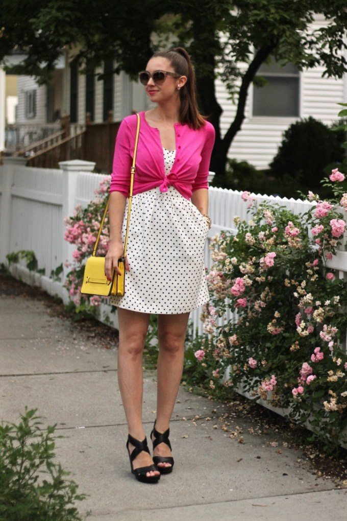 Pink Knotted Cardigan and Polka Dot Dress with Yellow Bag