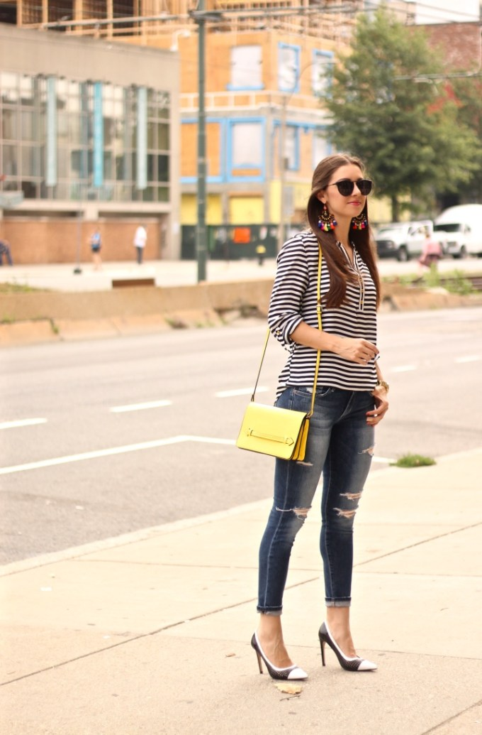 Black and White Stripes with Multicolored Fringe Tassel Earrings and Yellow Bag