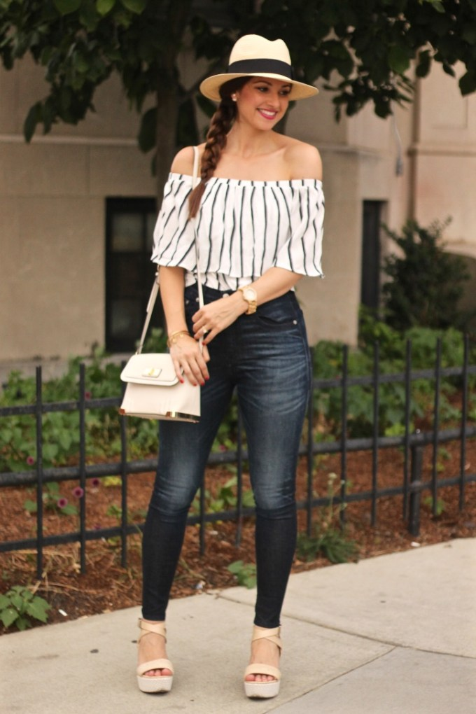 Wide Brim Fedora Hat and Navy and White  Striped Ruffle Off the Shoulder Summer Blouse