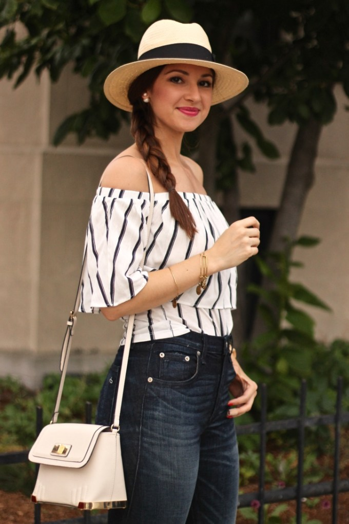 Navy and White  Striped Ruffle Off the Shoulder Summer Blouse
