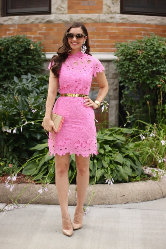 Pink Floral Lace Embossed Dress by J.O.A