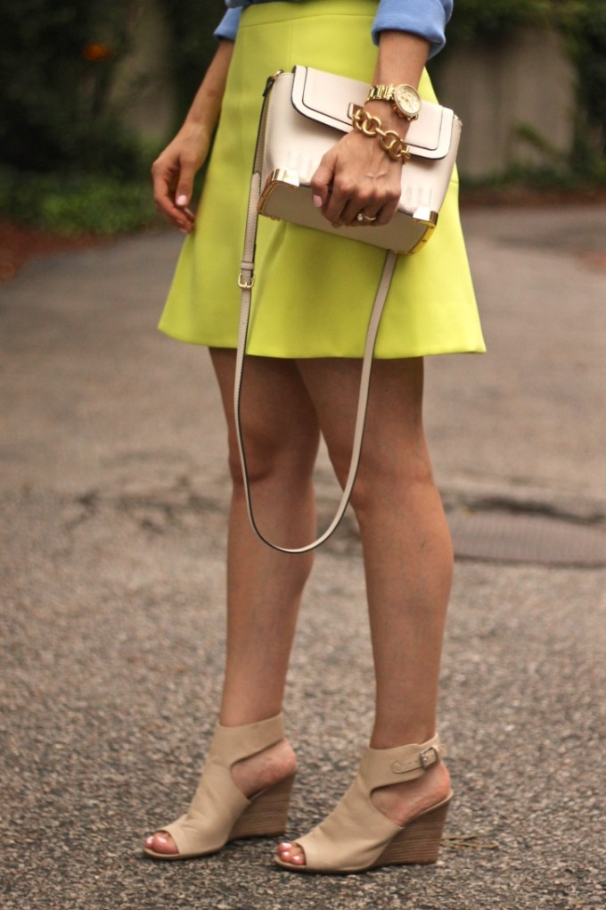 Yellow Flared an Fluted Skirt