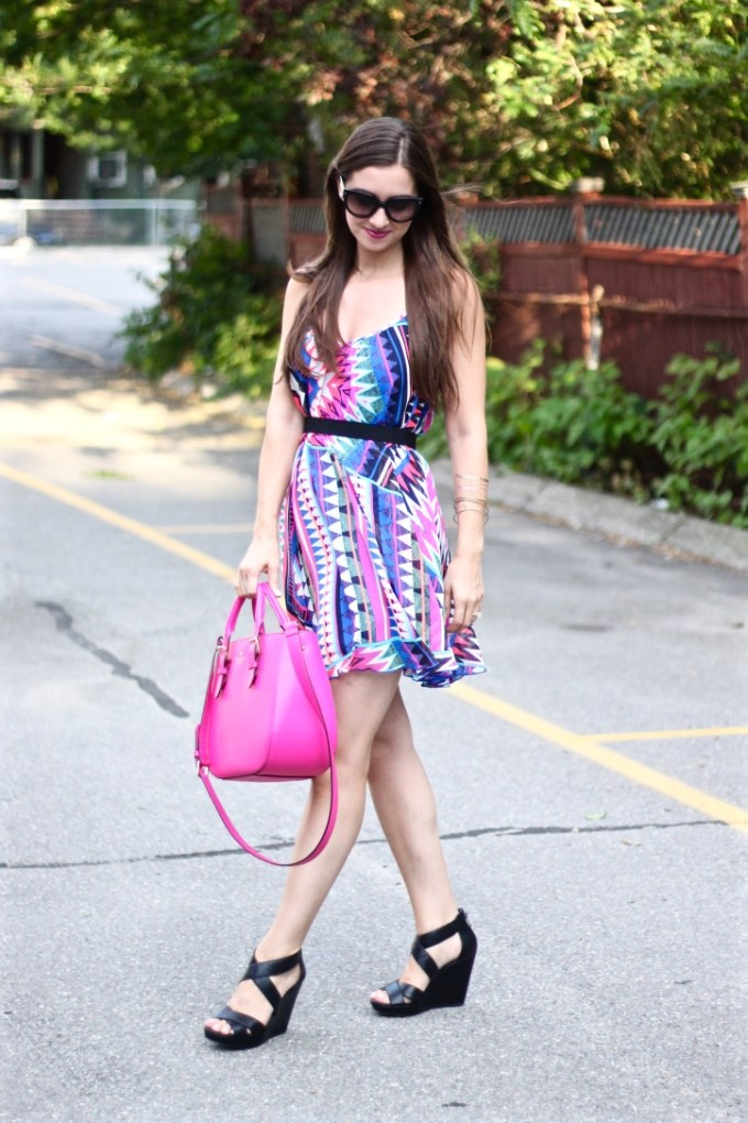 Express Zig-Zag Trapeze Sundress in Pink and Blue