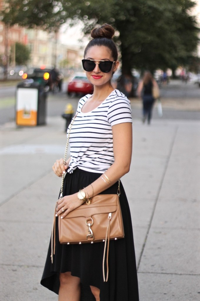 Balck Hi-Low Maxi, Striped Tee, Tan Crossbody and Leopard Sandals