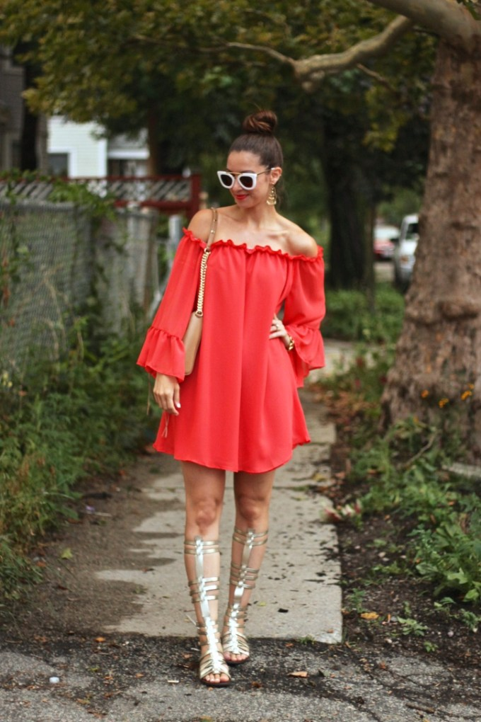 SheIn Red Ruffled Off the Shoulder Dress