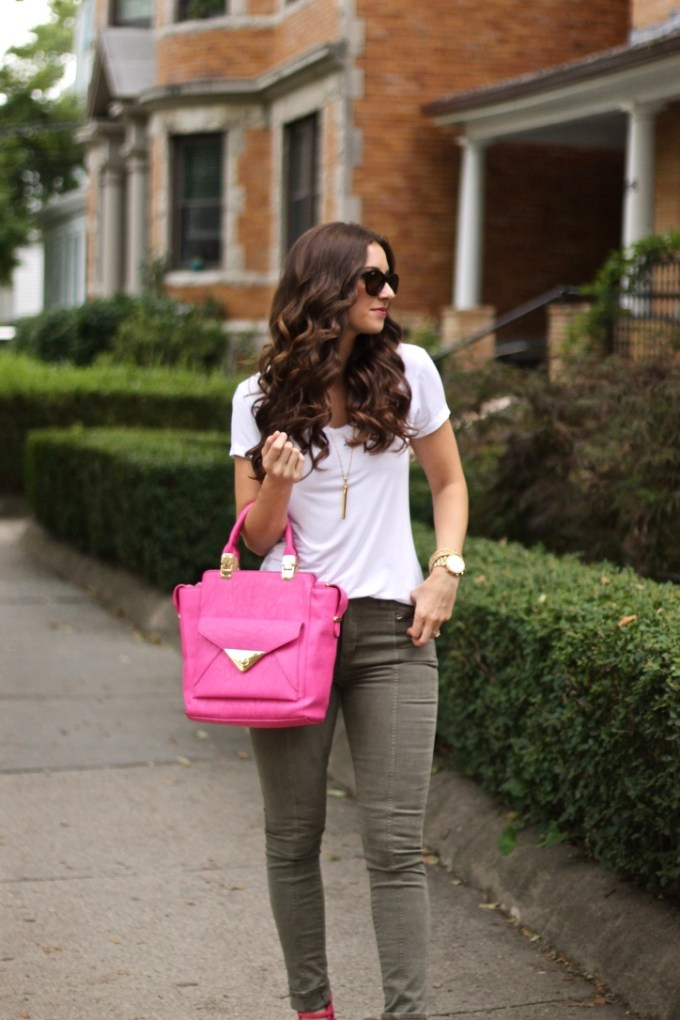 Olive Green Jeans and Pink Crossbody with Pink Strappy Sandals