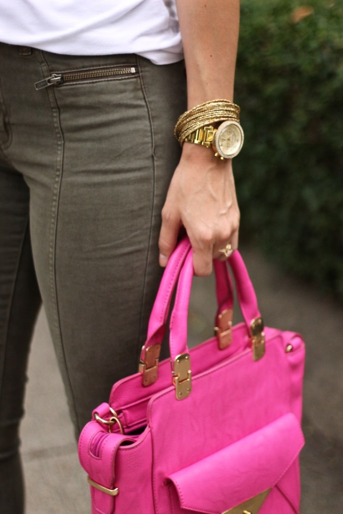 Olive Green Jeans and Pink Crossbody