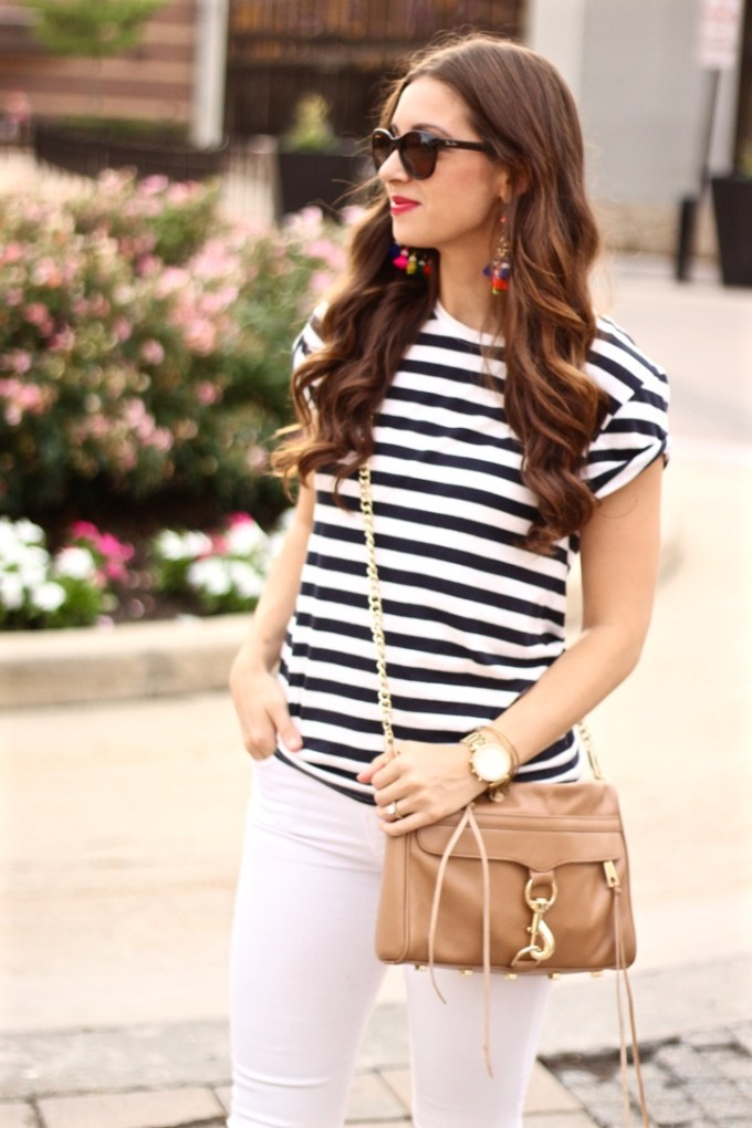 Cap Sleeve Striped Shirt with Tan Rebecca Minkoff MAC Bag