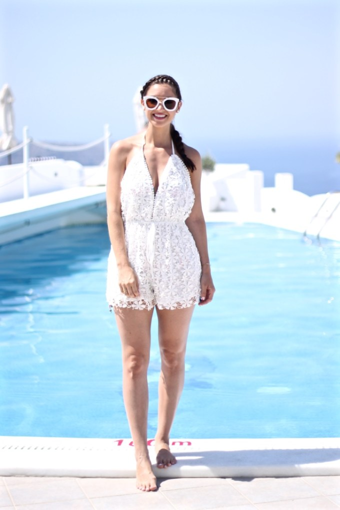 Missguided Crochet Plunge Neck Romper in White