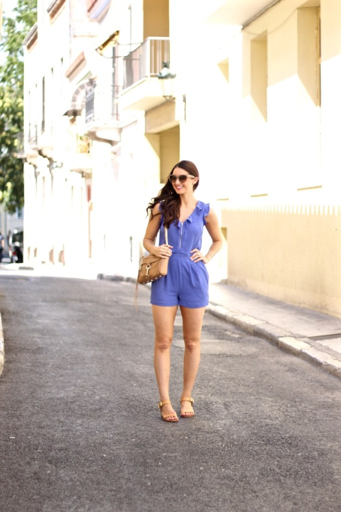 Periwinkle Ruffle Front romper, Athens, Greece