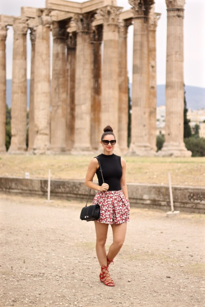 Black Woven Crop Top with Zara Red Floral Skort and Schutz Lina Lace-up Sandals